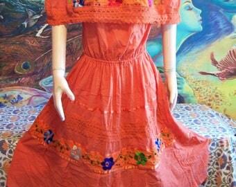 Mexican Dress, Off Shoulder, Embroidered, Orange, Autumn, M/L