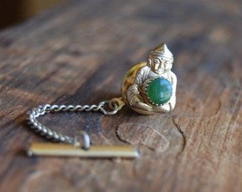 Vintage Gold  Buddha Tie Tack with Jade Green Stone Center. Pin Back. Vintage Retro Collar Pin. Tie Pin.