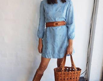Vintage Powder Blue 1960s Mini Dress, Small