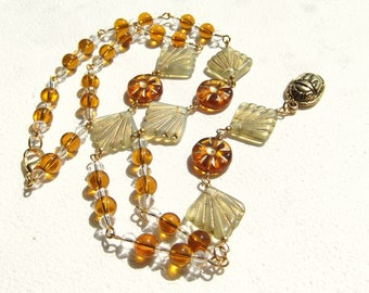 Egyptian Revival Golden Solar Aten and Scarab Necklace