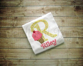 Ice Cream Cone with Initial and Name Appliqued Ruffle T-shirt for Girls