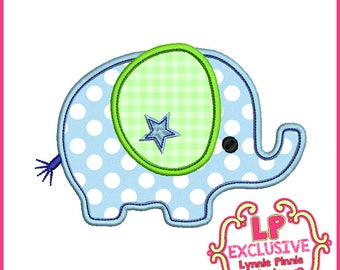 Applique ELEPHANT Boy 4x4  5x7 6x10  Machine Embroidery Design  INSTANT Download