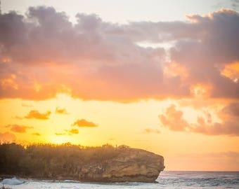 Hawaiian Fine Art Canvas wrap- Shipwrecks Beach Kauai, Hawaii- Poipu- Sunrise- Portrait