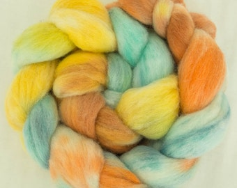 Hand dyed Merino top, hand painted Merino, hand dyed roving, extra fine Merino, felting materials, felting projects, handspinning, tops,