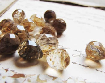 Golden rutilated quartz gemstone beads - micro faceted briolette tear drops - 8 x 10mm - 13 beads - destash price