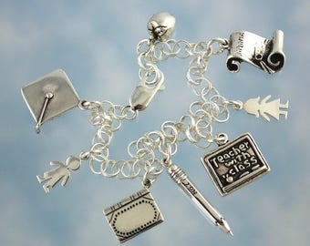 Teacher with Class Charm Bracelet -Solid Sterling Silver Charms and Chain- Luxury Gift For Those Who Love to Teach - Free Shipping USA