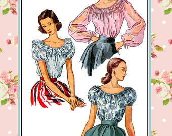 Vintage 1948-SCOOP NECKLINE BLOUSES-Sewing Pattern-Three Lovely Sizes-Ruched Detail-Raglan Sleeves-Long-Short Sleeves-Tie-Bows-Size 16-Rare