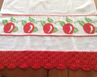 Vintage Towel, Embroidered with Apples, Red Lace Crochet, Lacy Crochet