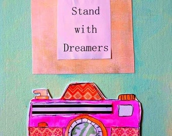 """Teacher Gift Camera 8.5"""" x 11"""" Wonder Original Flat Canvas Stand with Dreamers Inspiration Painting Mixed Media Teal Orange FREE SHIP"""