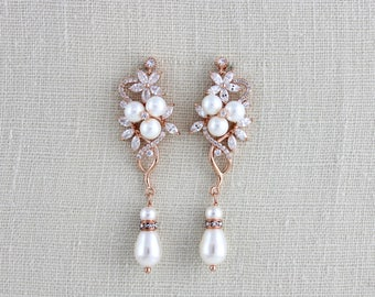 Rose Gold Bridal earrings, Pearl Wedding earrings, Long earrings, Bridal jewelry, CZ earrings, Dangle earrings, Bridesmaid earrings, MIA