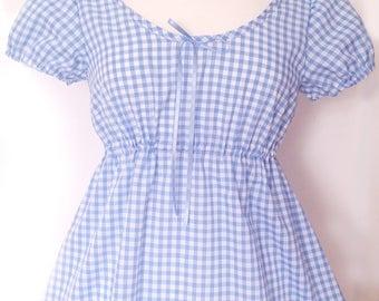 Gingham Babydoll Nightdress, Pin Up Lingerie, Retro Sleepwear, Kawaii Nightdress, Made to Order in Sizes: XS-XXL,