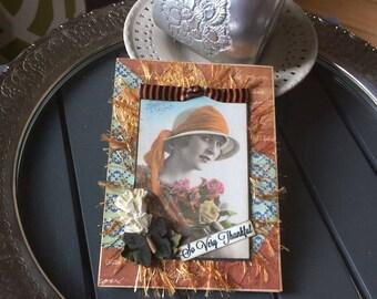 Handmade Thank You Card - Vintage Lady Card