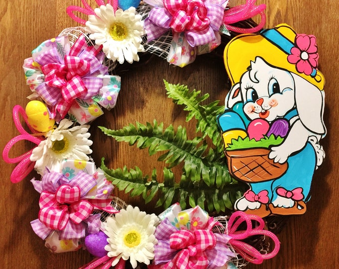 Easter Bunny Basket Eggs Floral - Welcome Door Grapevine Wreath