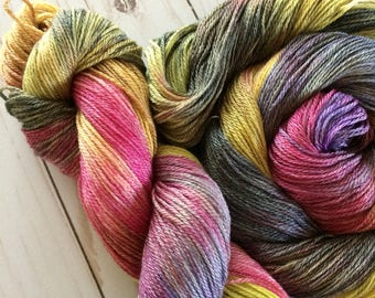 "Wood and Wool Fingering, Sock Yarn, 50/50 Superwash Merino/ Tencel  ""Bumble Bees Supper"" Super Soft with Great Shine Approx. 370 yards OOAK"