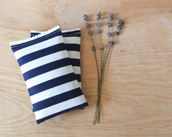 Sailor Stripe Lavender Sachets, Navy & White Drawer Sachets, Aromatherapy Lavender Pillows, Nautical Scented Sachets