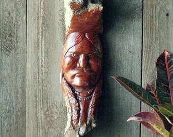 Hand Carved Native American Portrait Carved Wood Branch Vintage From Nowvintage on Etsy