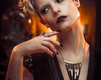 Sunstruck porcupine quill bib necklace, brass