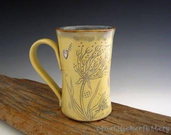 Wish Mug with Dandelion in Yellow and  Rustic Iron Blue - Pottery Mug - Coffee Mug - by DirtKicker Pottery