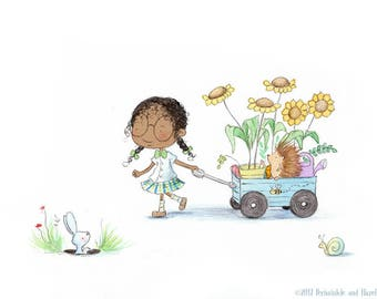 THE GARDENER - African American Girl with Hedgehog - Art Print