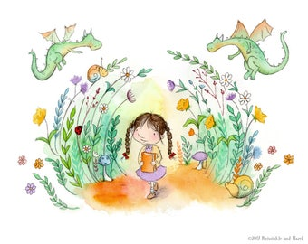The Dragons' Path - Brunette Girl with Braids in Garden with Dragons - Art Print