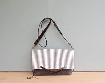 Cotton Ticking Tote with Waxed Canvas Bottom in Chocolate Brown with Leather Strap, Striped Convertible Tote, Crossbody Bag,  Made in USA
