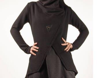 Shadow, knit jacket with cowl neckline and asymmetrical hem by Plastik Wrap.