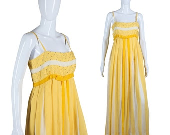 Sunny Yellow Dress 60s Maxi Dress Yellow White Stripe Dress Rhinestone Maxi Dress Vertical Stripe Gown