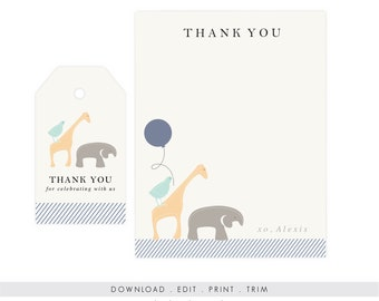 Personalized Animal Note Cards and Tags | Printable Animal Note Cards, Animal Baby Shower Stationery, Digital Download