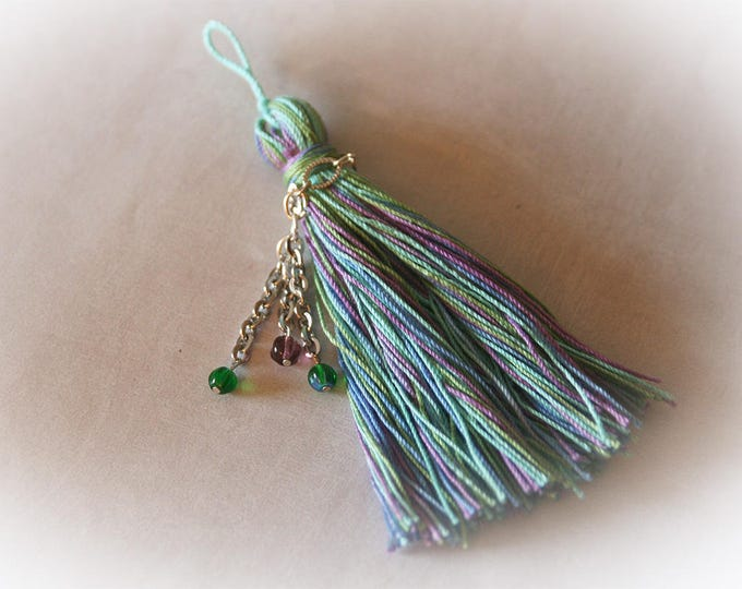 Beaded Bohemian Tassel in Blue, Green and Purple. Natural Eco-Friendly Cotton. Jewelry Supply - Crafting Supply.
