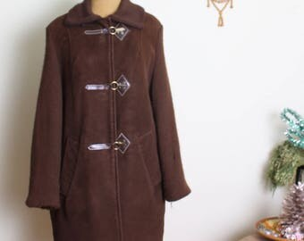 1960s vintage brown faux suede coat size 10/12
