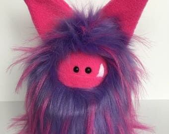 RESERVED Stuffed Monster  (for paaigerenee on IG) - Handmade soft toy monster - plush monster doll - purple plush monster - Fuzzling