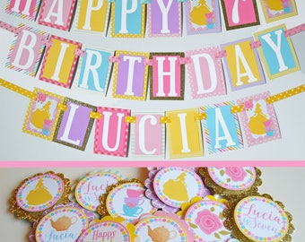 Princess Tea Party Birthday Party Decorations Package Fully Assembled | Princess Birthday | Princess Party |  Yellow Pink Lavender Blue |