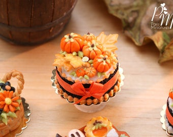 MTO-Miniature Cake Decorated with Orange Pumpkins and Autumn Leaf Cookies - 12th Scale Miniature Food