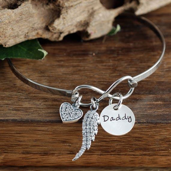 Memorial Bracelet Dad, In Memory of Dad, Sympathy Gift, Personalized Jewelry, Angel Wing Bracelet, Hand Stamped Bracelet, Loss of Loved One
