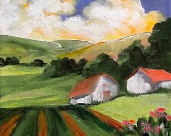Santa Maria Impressionist Painting Plein Air Landscape California Farm Fields Barns Art Lynne French o/c 8x10