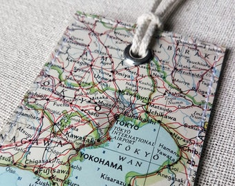 Toyko Japan luggage tag made with original vintage map