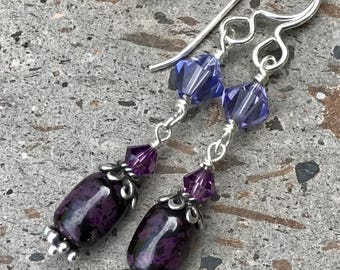 Sugilite Earrings, Dangle Earrings, AAA Stone Earrings, Purple Stone Earrings, Crystal & Silver Earrings, Sugilite Jewelry, Rare Stones