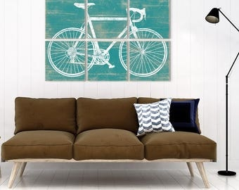 Bicycle Wall Art - Bike Print Decor - Wood Bicycle Decor - Cycling Gift Ideas - Bicycle Print Art - Cycling Gifts - Gifts for Cyclists