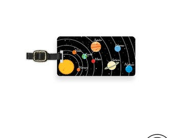 Luggage Tag Solar System Planets and Space  Custom Address Printed Metal Tag Personalized Single Tag