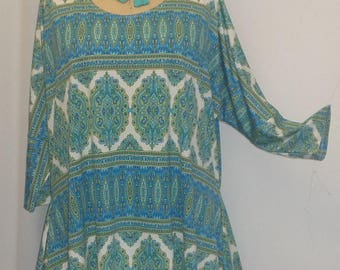 Plus Size Top, Coco and Juan, Lagenlook, Plus Size Tunic, Turquoise Green Print, Knit Drape Side, Tunic Top, One Size, Bust  to 60 inches
