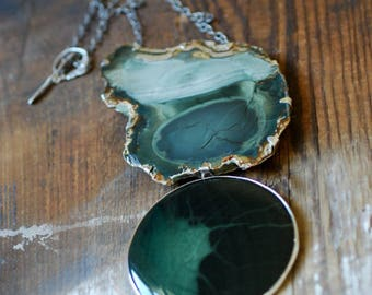 Wanderlust Necklace Evergreen Royal Imperial Jasper Raw and High Polished