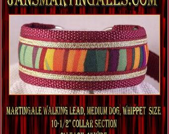 Jansmartingales, Collar and Leash Combination Walking Lead, Whippet, Medium Dog Size, wbur113