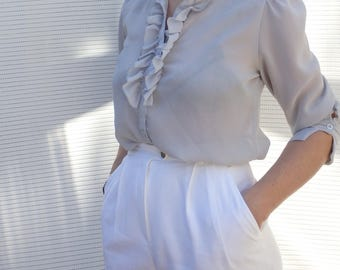Womens Blouses Vintage Ruffle High Collar