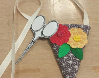 handmade scissor keeper, gifts for women, gifts for mom, floral appliques,flower button, neck ribbon,