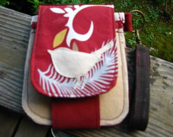 Minimalist Bird Wallet, Vegan Wallet, Eco-friendly Wallet, Waxed Ultra Suede and Cotton Wallet