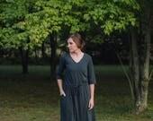 Womens VNeck Jersey Knit Cotton Dress with Pockets Handmade in the USA - Luana V Neck