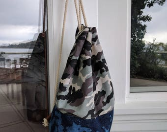 Travel Light - Medium sized Printed Cotton Backpack, Sailorbag, Bucketbag in Denim and Camouflage Canvas