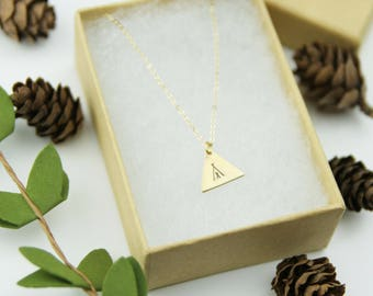 Brass Stamped Tee Pee Necklace | Christmas Gift | My Tribe Necklace | Bohemian Southwestern Necklace  | Geometric Jewelry | Stocking Stuffer