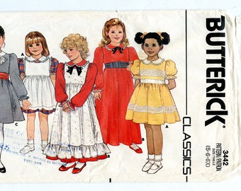Vintage 80s Butterick 3442 Girls Party Dress & Pinafore UNCUT Sewing Pattern Sizes 5 6 6X Chest 24 25 26 Raised Waist Bodice, Dirndl Skirt
