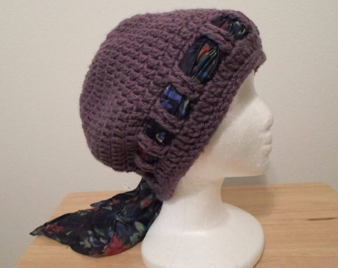 Crochet Hat - Crochet Cap made with Acrylic Yarn in Purple - Chemo Cap - Slouchy Hat